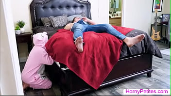 Stepbro is on his bed masturbating and he then caught his asian stepsis watching him.After that,he lets her stepsis suck his big cock passionately.In return,he fucks his stepsis tight wet pussy so deep and hard.