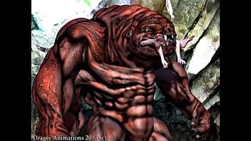 Monster eats girl
