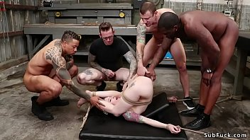 Hot alt girlfriend Anna De Ville drags bf in warehouse for a blowjob but there group of guys put her in bondage and interracial dp fucked