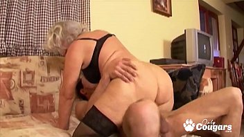 Granny whore degluting and banging massive dick