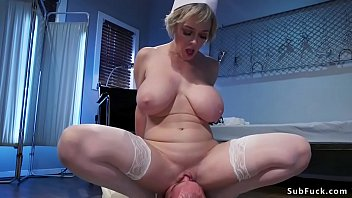 Big tits Milf nurse mistress Dee Williams canes strapped male patient Jonah Marx then gives him face sitting till makes him cum and collects his cum