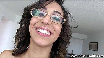 ThisGirlSucks Latina with glasses blowjobs handjobs big cock