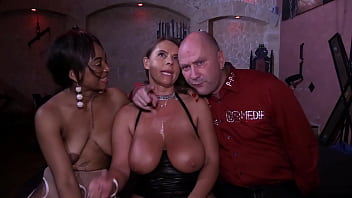 German swinger private party with Sexy Susi and Chocolate Mimi blowing a bunch of cocks