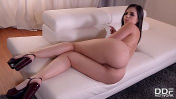Incredibly hot Milf Nekane plays with her pussy in high heels on the couch