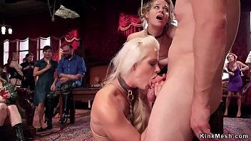 Head slave with big tits a blonde Holly Heart teaches brunette slave passionate Cassidy Klein how to submit and ass to mouth fuck in bdsm orgy party in the upper floor