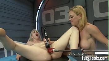 Blonde lesbians pussy fisting before toying