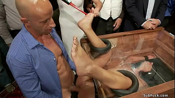 Petite brunette slave Adriana Chechik is blindfolded and locked in box with pussy sticked out gets rough fucked by Astral Dust in crowded public place