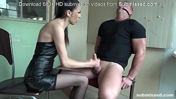 Brunette slut has a feet fetish and dominates her man