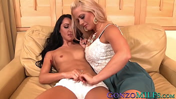 Lesbo MILF seduces curious young babe