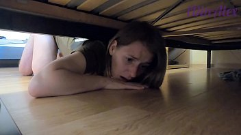 she got stuck under the bed and got fucked