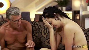 DADDY4K. Brunette Erica Black gets sperm of lover's dad on her pretty face