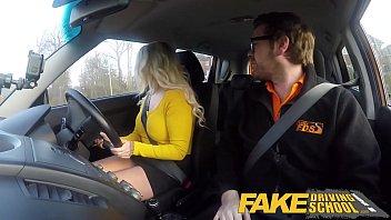 Fake Driving School British blonde babe fucks tutor in the car