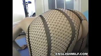 big ass English milf big butt workout in pantyhose