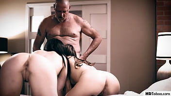 Threesome with lesbian girls and a sick stepdad