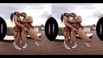 PORNBCN 4K VR   Lesbians having virtual reality sex, latina with big ass, schoolgirls cosplay, big boobs, babe, teen, young, college,  ... Porn straight orgasm scissoring strap on HD Canela Skin - Julia de Lucia - Valentina Bianco
