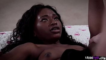 Noemie Bilas spread her thighs wide open and her young ebony pussy got railed!