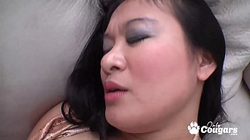 Chubby Asian whore jumping on massive dick and squirting cum