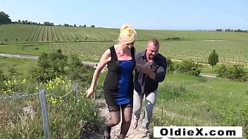 Old vs Young Outdoor Threesome