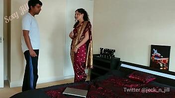 Red saree Bhabhi caught watching porn seduced and fucked by Devar dirty hindi audio desi chudai leaked scandal sextape bollywood POV Indian