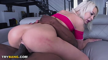 Young Golden Haired Beauty Stuffed With Big Black Cockus Mufackus
