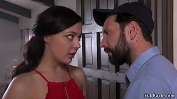 Husband Tommy Pistol and his hot brunette wife Whitney Wright acting sexual adventure and he bangs her throat and asshole in bondage at home