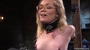 Blonde slave in glasses Katie Kush gets arms strapped to metal and back arched then pussy finger fucked by master The Pope later toyed