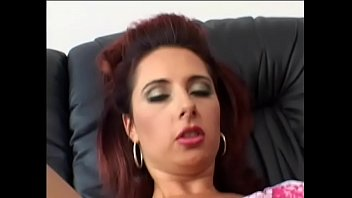 Red-haired bitch with hairy pussy screams as a big dick drills her chocolate hole