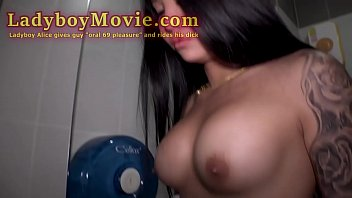 Thai shemale Alice in 69 with a guy and rides guys raw dick