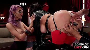 Lingerie subjects dominated by master in threeway