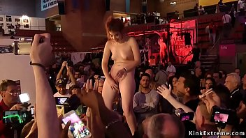 Hot brunette Euro babe Rena Reindeer humiliated and d. in hall at euro se expo