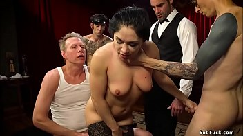 Husband Owen Gray blindfolds sexy brunette wife Lea Lexis and makes her sucks huge dicks to his friends then they double penetration bdsm fuck her