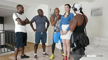 Horny Hottie Hannah Vivienne Is Slammed By 4 Black Cocks in her pale white cracker pussy & tiny asshole in this crazy interracial gang bang!