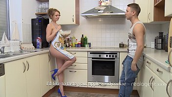 Goddess looking Russian beauty having fun experimenting on the kitchen naked