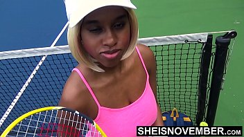 Skinny Black Tennis Player Rough Missionary Fuck After Gambling Her Pussy Away , Msnovember Has To Cowgirl On Old Man Dick With Huge Titties On HD Sheisnovember