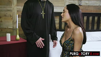 Gorgeous brunette visits her priest before she gets married