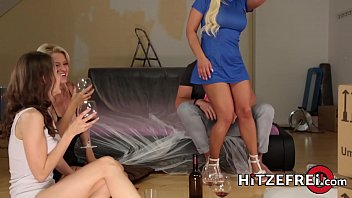 Three German babes with big boobs take turns pleasing one lucky guy!