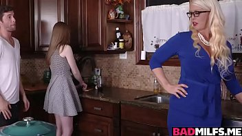 Dolly and her mom Alura are busy fucking a hot guy in the kitchen