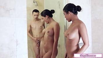 Busty latina stepsisters get into the shower and kiss to seduce stepbrother.They give him a double bj and then he fucks one as the other facesits her