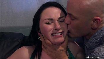 Tattooed baldheaded boyfriend Derrick Pierce after dinner puts hot brunette girlfriend Veruca James in box tie and then rough bangs her
