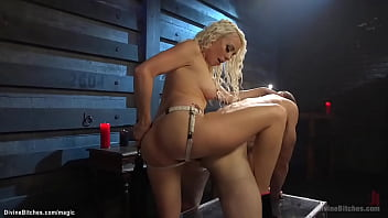 Blonde femdom in high heels and leggings Lorelei Lee kicking cock to handcuffed slave Jonah Marx then pegging him bent over with black strapon