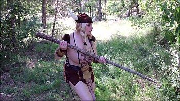 Mature viking masturbates alone in the forest