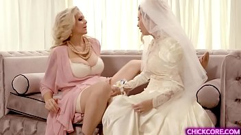 Teen bride gets a lesbian fuck surprise with stepmom