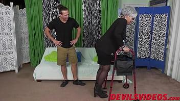 Naughty granny makes young guy hard