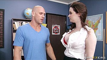 HOT teacher Tessa Lane lets her student motorboat her tits