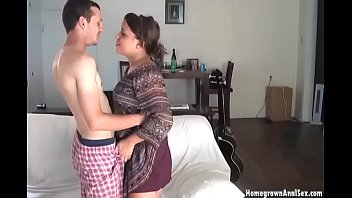 Thick brunette enjoys husbands white cock