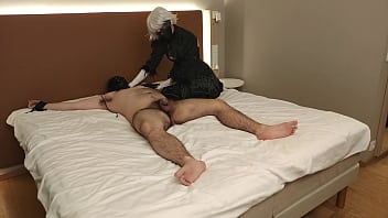 Sub Tied Up To The Bed Cums In Less Than 2 Minutes With Mistress In 2B Cosplay