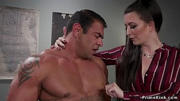 Femdom boss brunette spanks and whips muscled personal assistant in office then with strap on dick anal fucks him and rides his hard cock on the rug
