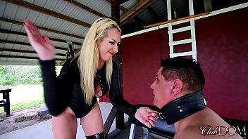 Blonde Goddess Face smacks Chubby Guy