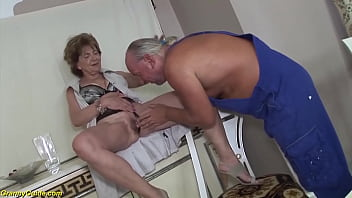 crazy big breast extreme deepthroat loving granny enjoys rough ass fucking with her big cock stepson