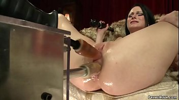 Solo brunette babe Veruca James laying on fur and fucking machine then takes it up her ass before fucks double penetration machine till cums